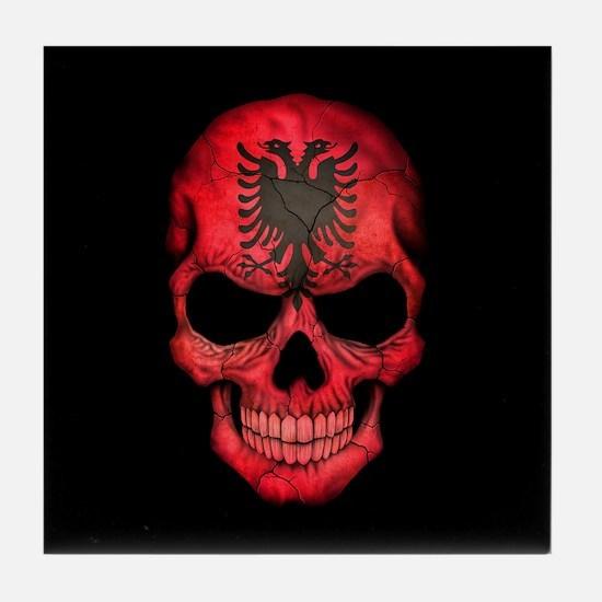 Albanian Flag Skull on Black Tile Coaster