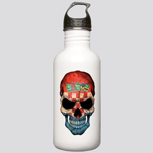 Croatian Flag Skull Water Bottle