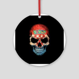 Croatian Flag Skull on Black Ornament (Round)