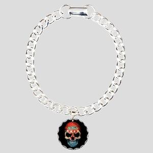 Croatian Flag Skull on Black Charm Bracelet, One C