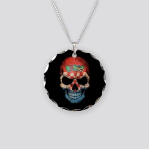 Croatian Flag Skull on Black Necklace Circle Charm