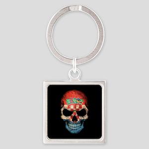Croatian Flag Skull on Black Keychains
