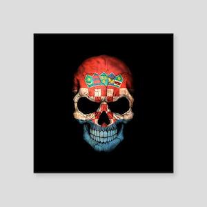 Croatian Flag Skull on Black Sticker