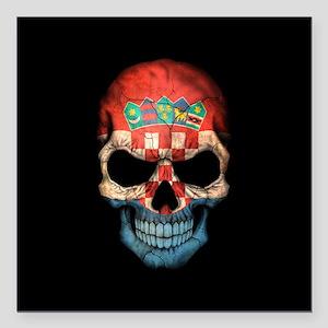 """Croatian Flag Skull on Black Square Car Magnet 3"""""""