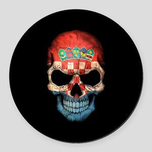 Croatian Flag Skull on Black Round Car Magnet