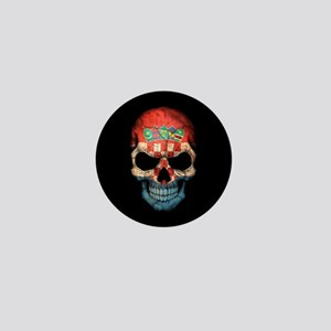 Croatian Flag Skull on Black Mini Button