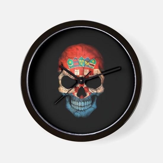 Croatian Flag Skull on Black Wall Clock