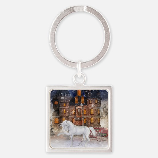 Christmas Time Square Keychain