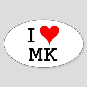 I Love MK Oval Sticker