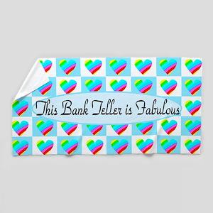 Bank Teller Hearts Beach Towel