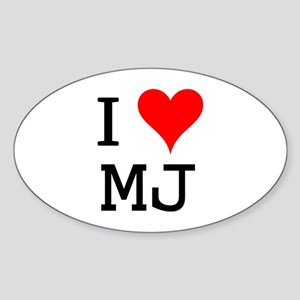 I Love MJ Oval Sticker
