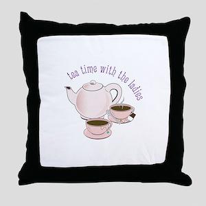 tea time with the ladies Throw Pillow