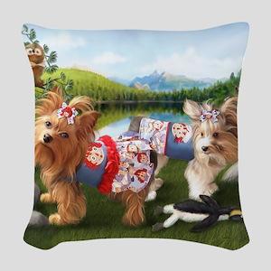 The Park-Yorkie/Biewer Woven Throw Pillow