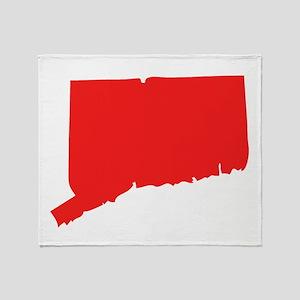Red Rhode Island Silhouette Throw Blanket