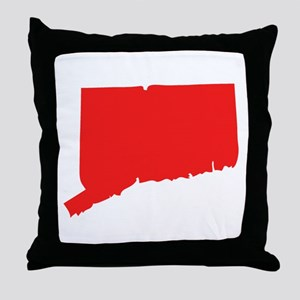 Red Rhode Island Silhouette Throw Pillow