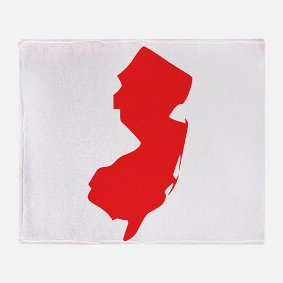 Red New Jersey Silhouette Throw Blanket