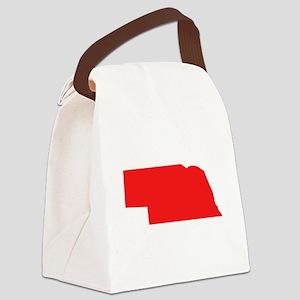 Red Nebraska Silhouette Canvas Lunch Bag