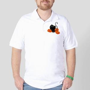 Black Cat and Pumpkin Heads Golf Shirt