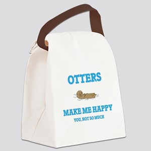 Otters Make Me Happy Canvas Lunch Bag