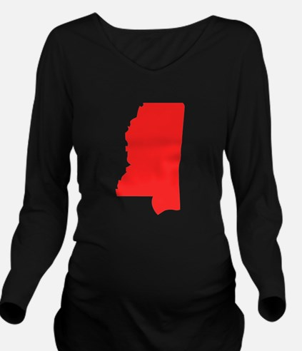 Red Mississippi Silhouette Long Sleeve Maternity T