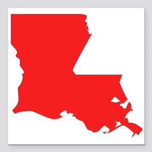 "Red Louisiana Silhouette Square Car Magnet 3"" x 3"""