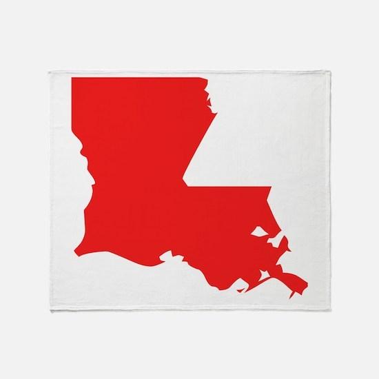 Red Louisiana Silhouette Throw Blanket