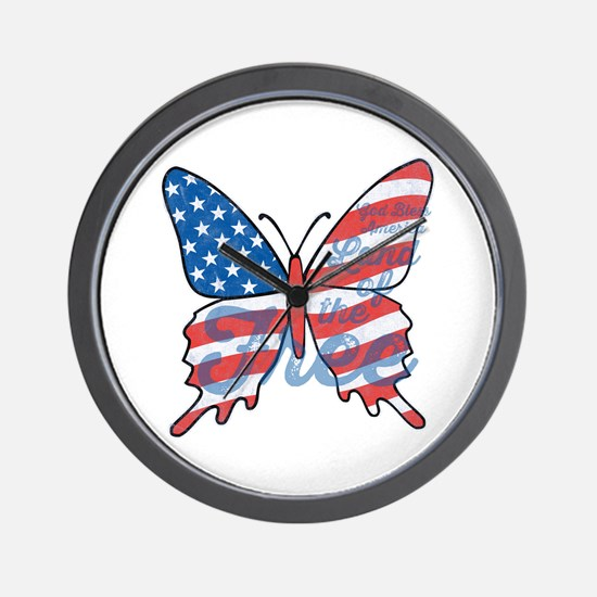 Patriotic Butterfly Wall Clock