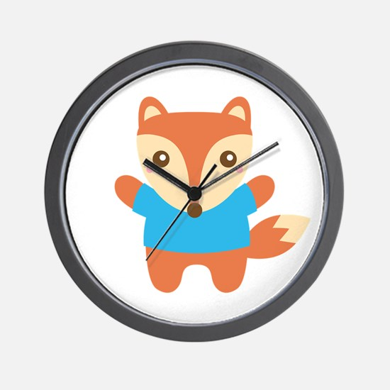 Cute Little Fox in Blue Tee Wall Clock