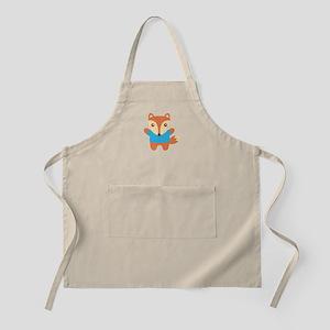 Cute Little Fox in Blue Tee Apron