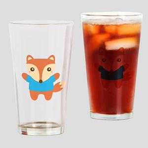 Cute Little Fox in Blue Tee Drinking Glass
