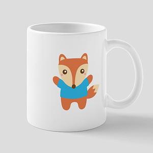 Cute Little Fox in Blue Tee Mugs