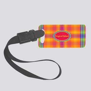 Tropical Island Plaid Small Luggage Tag