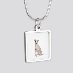 Italian Greyhound #1 Silver Square Necklace