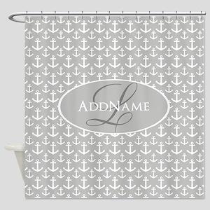 Gray White Anchors Monogram Shower Curtain