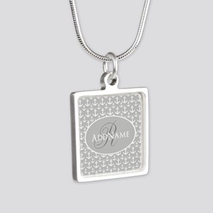 Nautical Anchor Monogram Silver Square Necklace