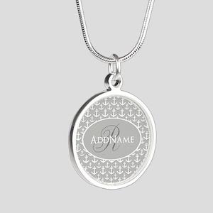 Nautical Anchor Monogram Silver Round Necklace