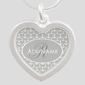 Nautical Anchor Monogram Silver Heart Necklace
