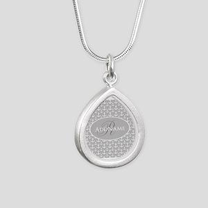 Nautical Anchor Monogram Silver Teardrop Necklace