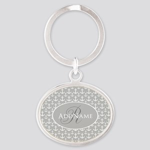 Nautical Anchor Monogram Oval Keychain