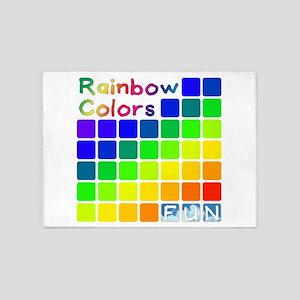 Rainbow Colors Fun 5'x7'Area Rug