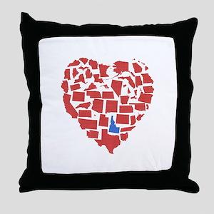 Idaho Heart Throw Pillow