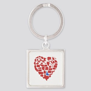 Idaho Heart Square Keychain