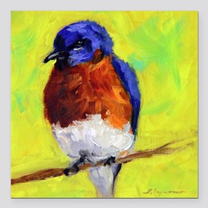 "Puffed Up Bluebird Square Car Magnet 3"" x 3"""