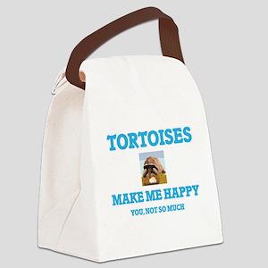 Tortoises Make Me Happy Canvas Lunch Bag