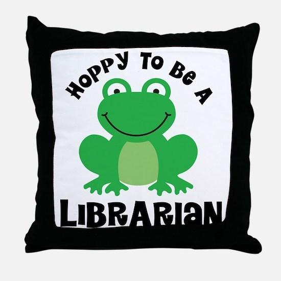 Hoppy Frog Librarian Throw Pillow