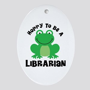 Hoppy Frog Librarian Ornament (Oval)
