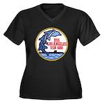 USS LOS ANGE Women's Plus Size V-Neck Dark T-Shirt