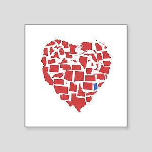 "Indiana Heart Square Sticker 3"" x 3"""