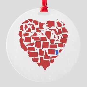 Indiana Heart Round Ornament