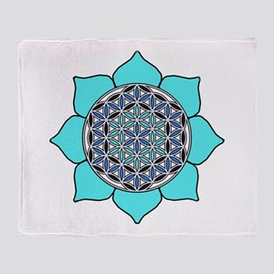 Lotus Blue2 Throw Blanket